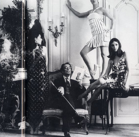 salvador dali with models wearing paco rabanne 1960s